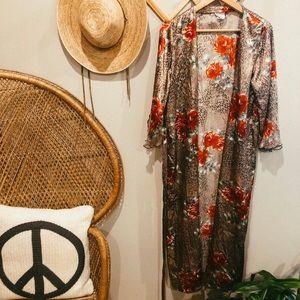 Vintage leopard + floral kimono / silk robe. Boho